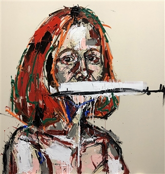 """Vodka & Cranberry, and a Pistol At My Back Acrylic & Charcoal on Canvas 48"""" x 46"""""""