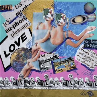 """Love / Suburbia Mixed Media Collage on Canvas 30"""" x 30"""""""