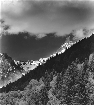 Dente del Gigante and Clouds Courmayeur