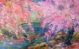 """My Garden in the Heart of Sakura Acrylic on Canvas 59"""" x 30"""""""