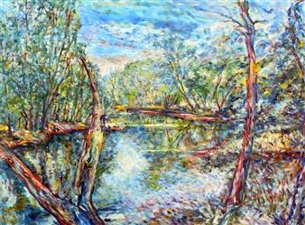 "Ipswich River, Topsfield  (March/July) Oil on Canvas 38"" x 46"""