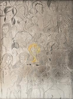 """Donne Acrylic & Silver Leaf on Canvas 31.5"""" x 27.5"""""""