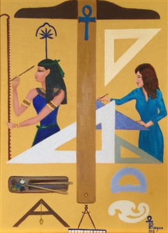 """Seshat, the Ancestor of Egyptian Architects Oil on Canvas 42"""" x 34"""""""