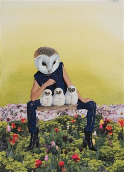 """Dream Rooms no. 3 - Owl Mother Collage & Mixed Media on Paper 24"""" x 20"""""""