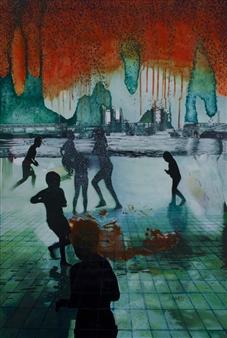"Smoke on the Water Acrylic on Canvas 47.5"" x 31.5"""
