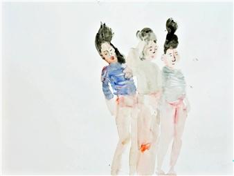 "Three Beauties Watercolor & Ink on Paper 11"" x 15"""