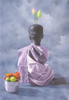 Young Nun with Lotus