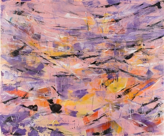 "Flamingo Acrylic on Canvas 65"" x 79"""