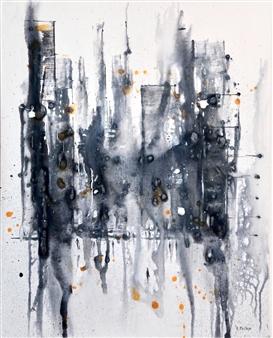 "Cityscape #1 Acrylic on Canvas 30"" x 24"""