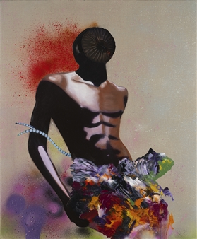 """Man with Orchids Oil & Spray Paint with Glitter on Fine Linen 36"""" x 30"""""""