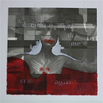 """crime against Acrylic and Mixed Media on Paper 31.5"""" x 31.5"""""""