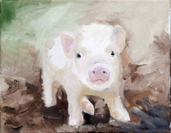 """Pinky the Baby Oil on Canvas 8"""" x 10"""""""