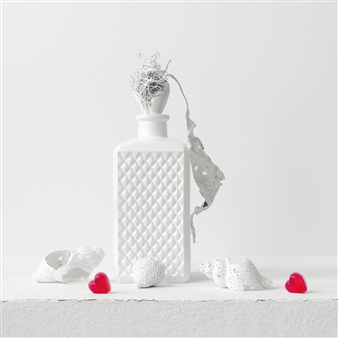 Still Life in White with Two Hearts / second variation