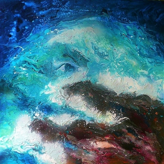 "Duet Earth-Sea in Joyful Exhilaration Acrylic on Canvas 39.5"" x 39.5"""