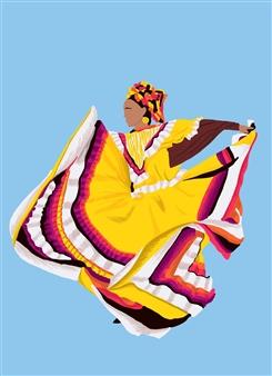 "Danza Tapatia #2 Digital Illustration 15"" x 11"""