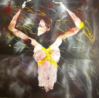 "Tales of Glory Acrylic & Spraypaint on Canvas 39.5"" x 39.5"""