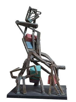 "Luxury Woman Bronze & Painted Wood 48"" x 30.5"" x 23.5"""