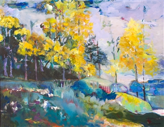 """Yellow Forest Giclee Print on Paper 22"""" x 28"""""""