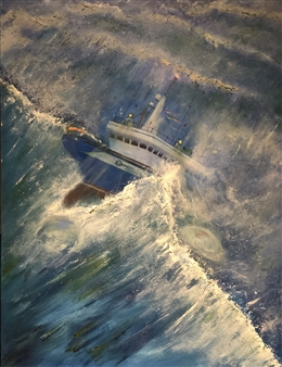 "North Sea Trawler Oil on Canvas 48"" x 36"""