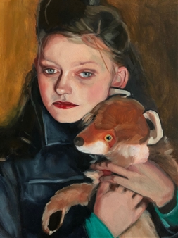 """Girl with the Red Fox Oil on Panel 20"""" x 16"""""""
