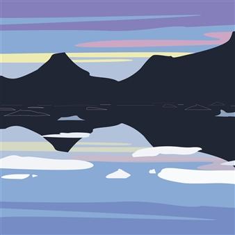 """Tasilaq Fjord at Dusk Digital Print on Paper 30"""" x 30"""""""
