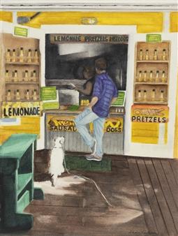"Dog Watchin' for a Dog  (Florida Keys Hot Dog Stand) Giclee Print 14"" x 11"""