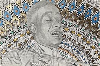 "Broonzy Mandala Ink & Gold Leaf on Paper 11"" x 12"""