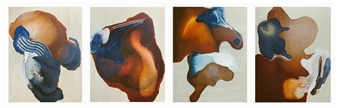 """Spilled Coffee series Acrylic & Mixed Media 14"""" x 47"""""""