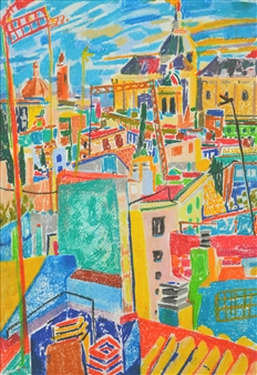 """Roofs of Seville. Pastel on Paper 18.5"""" x 9"""""""