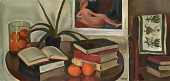 """Still Life with Books and Fruits Oil on Canvas 18"""" x 36"""""""