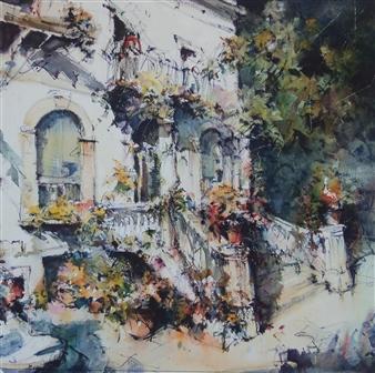 """Villa Laura Watercolor 35.5"""" x 35.5"""""""
