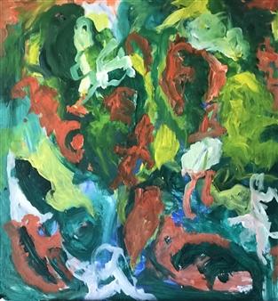 "Joyful of Life Acrylic on Canvas 28"" x 27.5"""