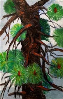 "Pine Tree Section Oil on Cardboard 30"" x 20"""
