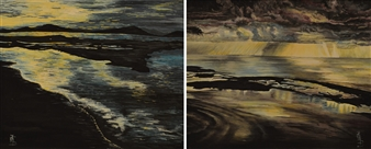 """L'Aurora  (diptych) Oil on Canvas 16"""" x 39.5"""" <span style='color:red;'>Sold</span>"""