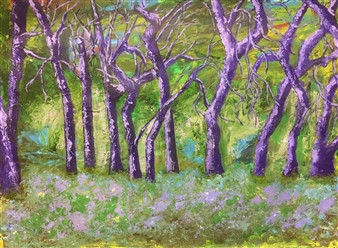 "Purple Trees Acrylic on Cardboard 30"" x 40"""