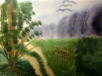 """Flower path Watercolor on Paper 9"""" x 12"""""""