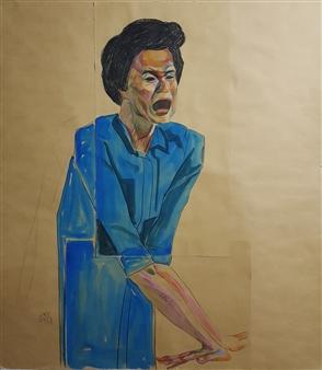 "Selfportrait  (5) Watercolor & Pastel on Paper 31"" x 27.5"""