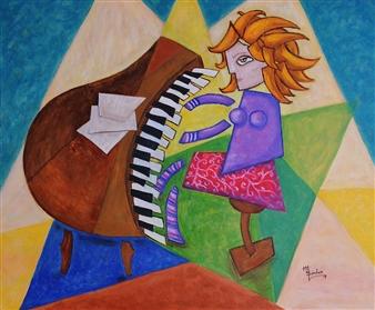 """La Pianista Oil on Canvas 29.5"""" x 35.5"""""""