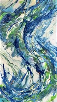 """Blue Magic Acrylic & Oil on Canvas 20"""" x 10"""""""