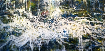 "Black Bird Oil on Canvas 36"" x 72"""