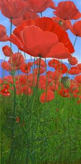 "Red Poppyfield Oil on Canvas 47"" x 23.5"""