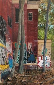 "Abandoned Facade  (diptych) Acrylic on Wood Panel 22"" x 14"""