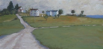 """Company Houses Oil on Linen on Wood 12"""" x 24"""""""