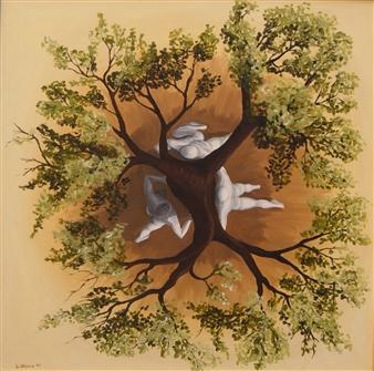 """Tutori  (Tutors) Oil on Canvas 31.5"""" x 31.5"""""""