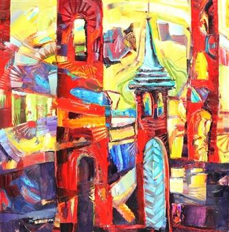 """Church Bells Acrylic & Oil on Canvas 31.5"""" x 31.5"""""""