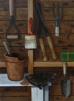 "Barn Still Life With Gardening Tools Oil on Masonite 32"" x 24"""