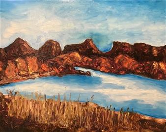 """Flagstaff Lake Oil on Board 16"""" x 19.5"""""""