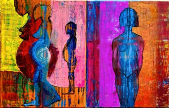 "MOTHERHOOD: Golden Journey  (diptych) Acrylic & Oil on Canvas 18"" x 28"""