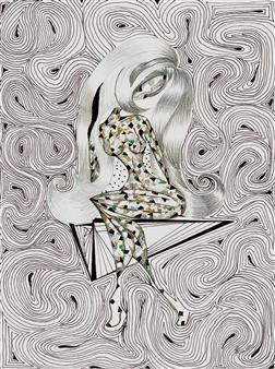 "Una Moza en Equilibrio Black Fine Point Pen & Colored Markers on Paper 17"" x 11"""