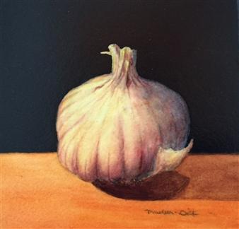 "Still Life with Garlic Mixed Media on Canvas 6"" x 6"""